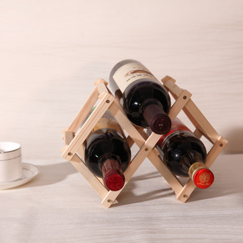 New High Quality Classical Folding Wooden Red Wine Holder Racks 3 Bottles Wine Stand