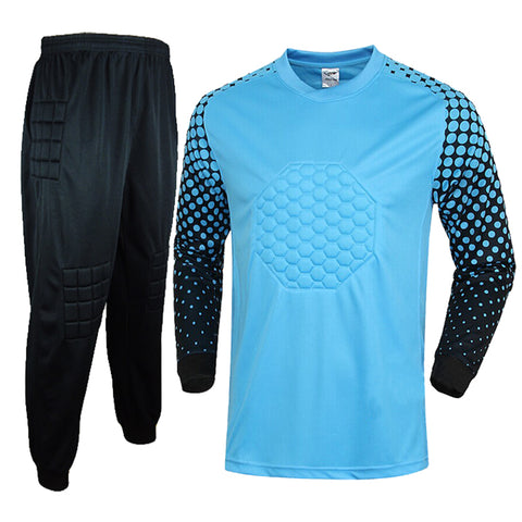 New Men soccer goalkeeper jersey set men's sponge football long sleeve goal keeper