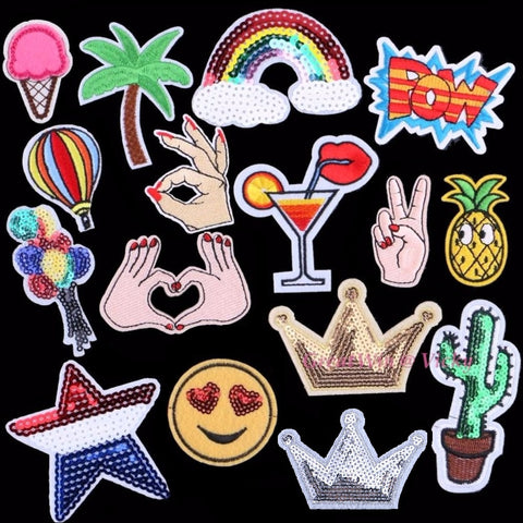 New Pineapple Patch Sewing Clothes Patches Iron On Sequins Crown Motifs Garment Sticker
