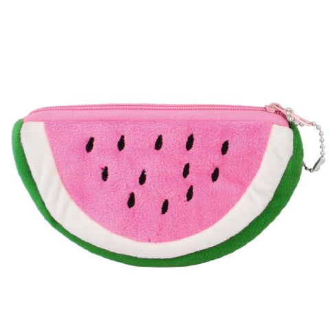 New Watermelon Shape Pink Green Plush Zip up Cards Cash Holder Wallet Purse .