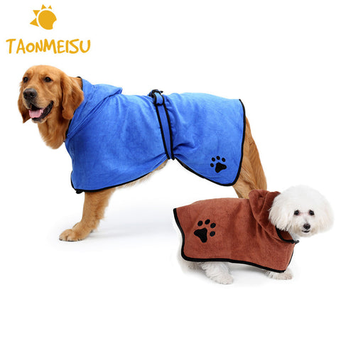 Newest Dog Bathrobe Towel Super Absorbent Pet Drying Towel Quality Embroidery Paw Cat