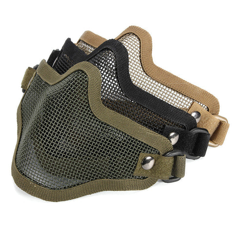 Nylon MetalOutdoor Strike Metal Mesh Mask Protective Mask Half Face Tactical Airsoft