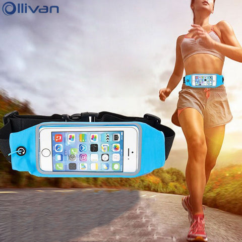 OLLIVAN Universal Sport running Wasit Bag case for iphone 7 6s 8 case Zipper bags for