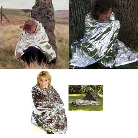 Outdoor Camping Rescue Mylar Thermal Blanket Wrap Emergency Survival Tool .