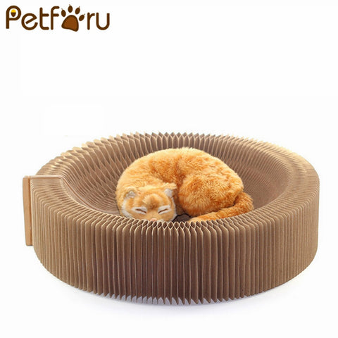 PETFORU cat Accordion Scratching Board Scratcher Cat Scratching Board Nest Pets Funny