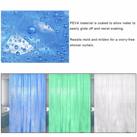 PEVA 3D Waterproof Translucence Thicken Plaid Resists Mold Mildew Bathing Shower