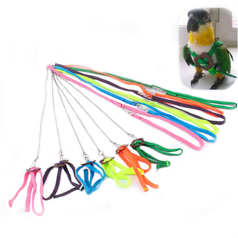 Parrot Adjustable Harness Bird Leash Anti-bite Multicolor Light Soft Strap Belt Correas