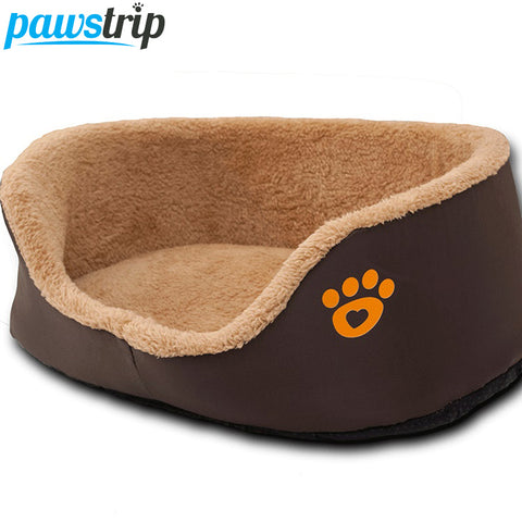 Paw Print Round Dog Sofa Bed Soft Fleece Warm Chihuahua Small Dog Beds S/M .