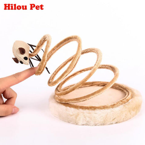 Pet Cat Funny Toy Spring Mouse Plate Sisal Cat Tree Sticks Toys Climb Frame Scratching