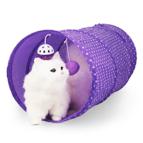 Pet Cat Tunnel Toy Tubes Collapsible Crinkle Kitten Rabbit Play Funny Outdoor Game Play