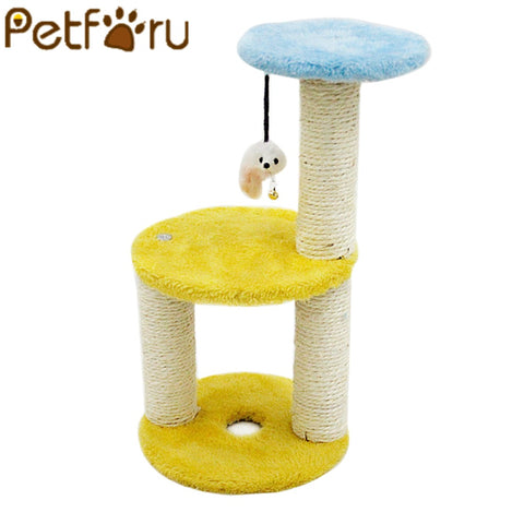 Petforu Round Shape Cat Climbing Frame Claws Grinding Three Layers Sisal Mice Catch