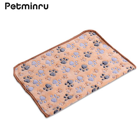 Petminru 40 x 60cm Cute Floral Pet Sleep Warm Paw Print Dog Cat Mat Puppy Fleece Soft