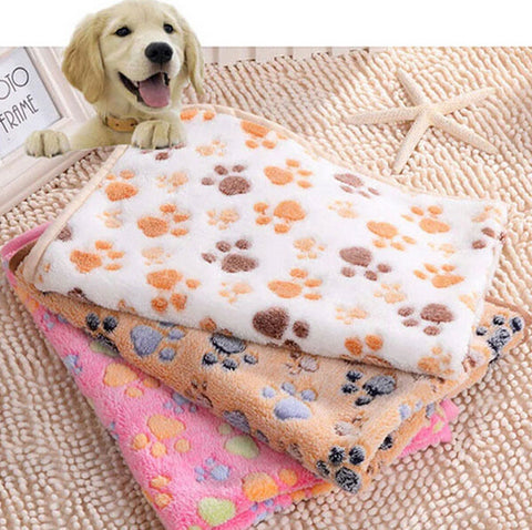 Petminru 60*40cm Cute Floral Paw Print Dog Puppy Fleece Soft Pet Blanket Beds Warm Dog Mat