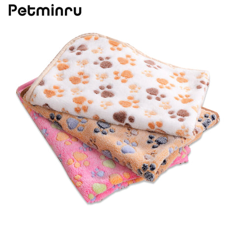 Petminru 75*50cm 104*76cm Cute Floral Paw Print Dog Puppy Fleece Soft Pet Blanket Beds