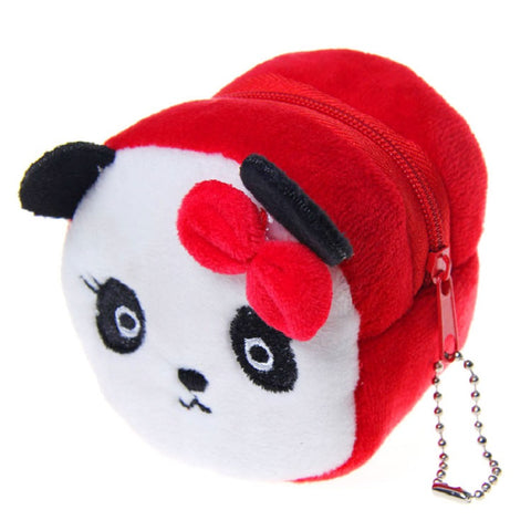 Plush cartoon printing women wallet ladies mini coin purse small pouch money bag