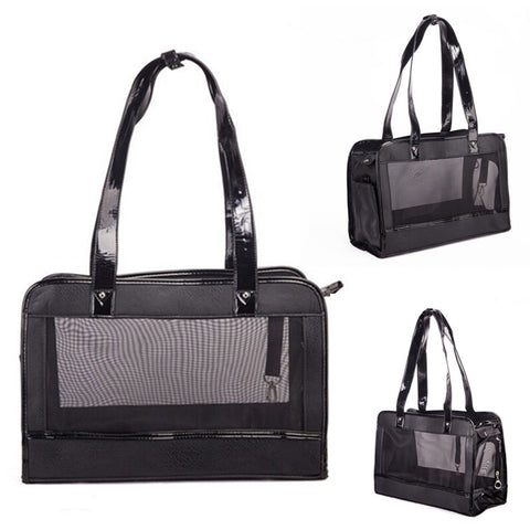 Portable Small Pet Carrier Sling Bag Black Leather Stitch Mesh Puppy Carriers Breathable