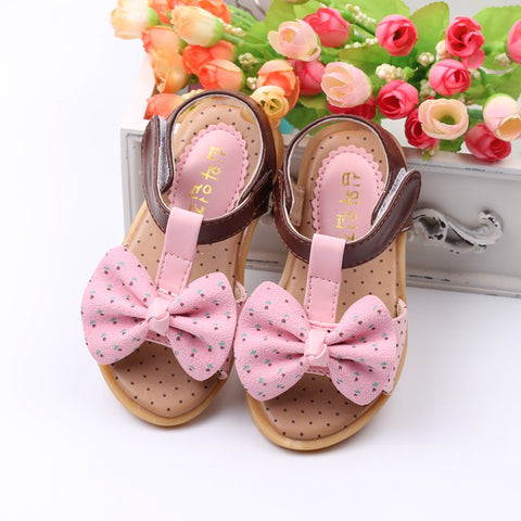 Princess Girls Sandals Kids Shoes New Summer Dots Big Bowtie Baby Girls Shoes Cute
