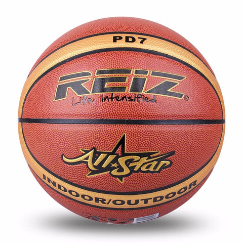 REIZ Outdoor Basketball Wear-resistant PU Leather Basketball Official Size 7 Non-slip