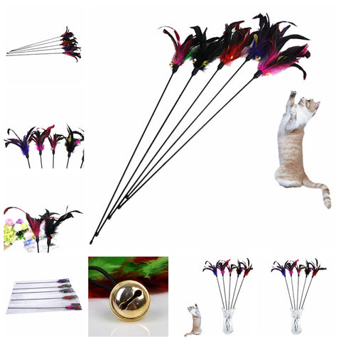 Random Color delivery Fun Kitten Hand Created Toy Cat Feather Bell Wand Teaser Rod Bead