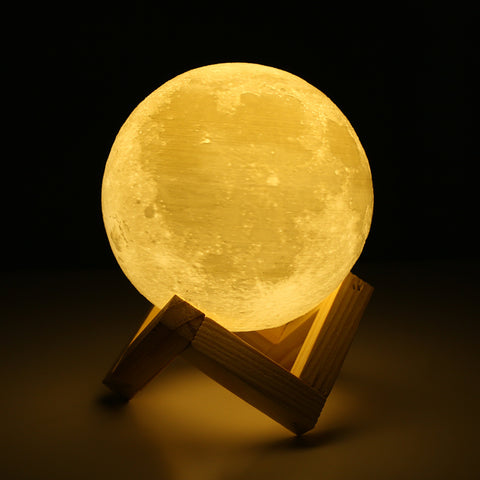 Rechargeable 3D Lights Print Moon Lamp 2 Color Change Touch Switch Bedroom Bookcase Usb