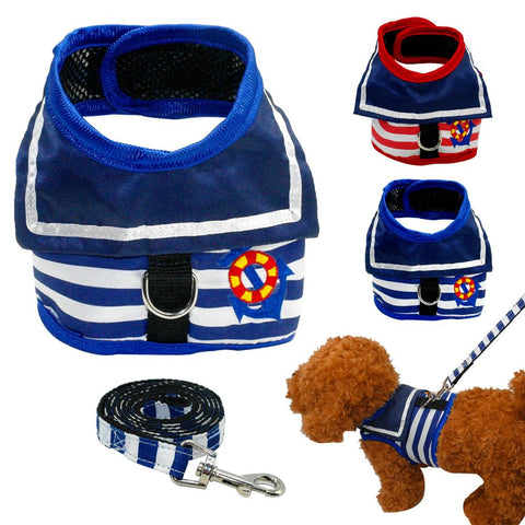 Retro Navy Solider Style Dog Spring Harness Mesh Summer Dog Clothes Teddy Poddle Pet
