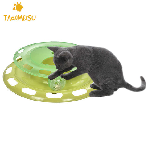 Rotatable Tracks Disc Toy for Cat Double-layer Water Food Feeder Amusement Shelf Play