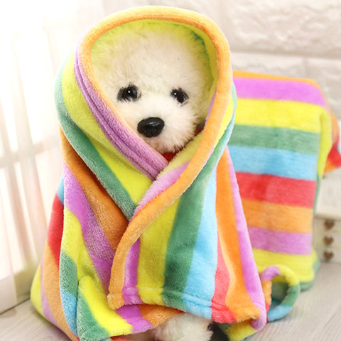 S/M Rainbow Flannel Bed Blanket Warm Towels for Puppy Dog Cat Mat Dog Bed Sofa Coverlet