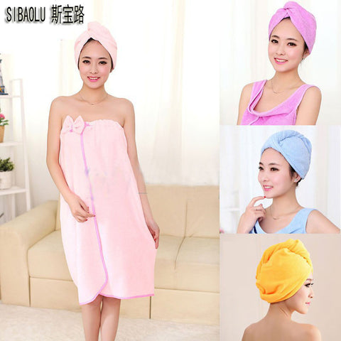 SIBAOLU 4 Colours Magic Girls Hair Drying Hat Quick Dry Towels Lady Turban Microfiber