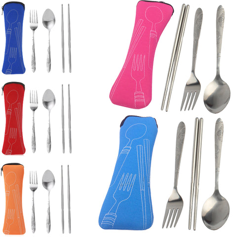 Sale 3 Pcs/Set Portable Stainless Steel Camping Picnic Travel Tableware Tools .