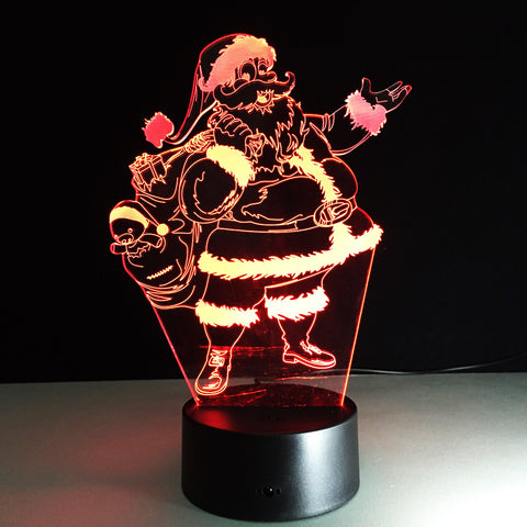 Santa Claus 7 Color Lamp 3d Visual Led Night Lights For Kids Touch Usb Table Lampara Lampe