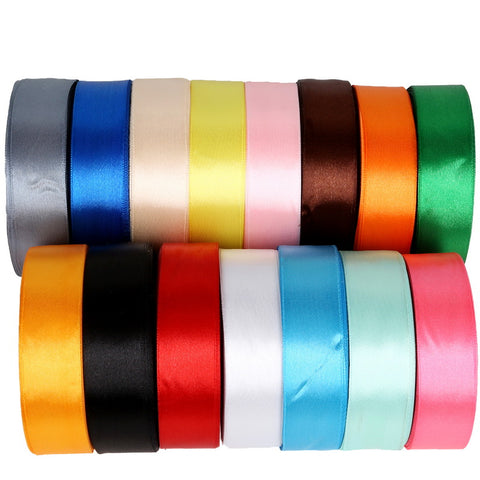 Satin Ribbon 25 Yards 25mm Packing Material DIY Bow Craft Decor Wedding Party Decoration