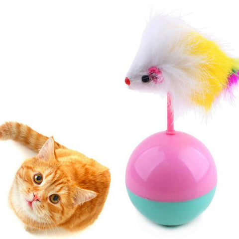 Soft Faux Fur Plastic Pet Cat Toys Favorite Fur Mouse Tumbler Plastic Toys Balls Hot Funny