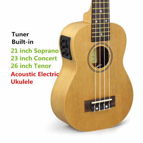 Soprano Concert Tenor Acoustic Electric Ukulele 21 23 26 Inch Small Mini Guitar 4 String