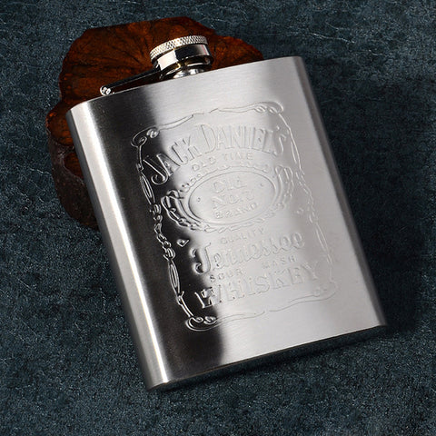 Stainless Steel Flagon 7 Ounces Wine Hip Flask Travel Alcohol Liquor Small Portable Mini