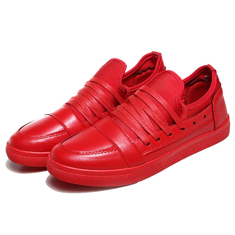Stylish Fashion Men Casual Shoes Breathable Leisure platform Student Shoes Pure Red