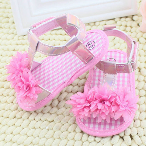Summer Sandals Chic Baby Girl Floral Crib Soft Sole Antislip Cotton Shoes S01 .