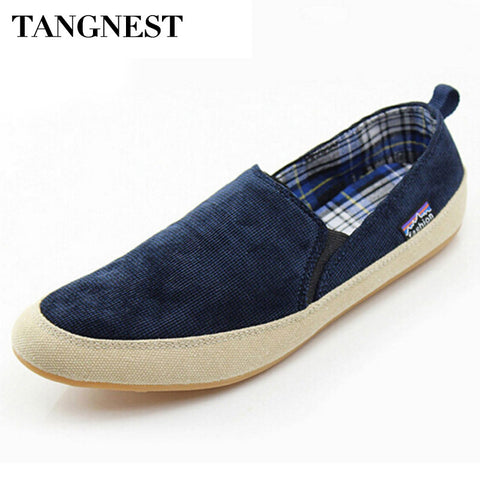 Tangnest Men Canvas Shoes Spring Male Slip-On Loafers Men Comfortable Flats Casual