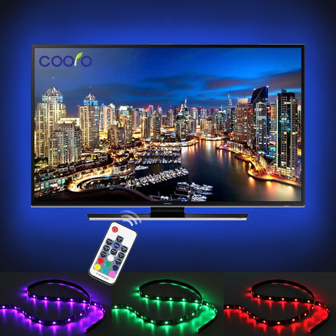 USB LED Strip 5050 RGB TV Background Lighting Kit Cuttable with 17Key RF Controller or