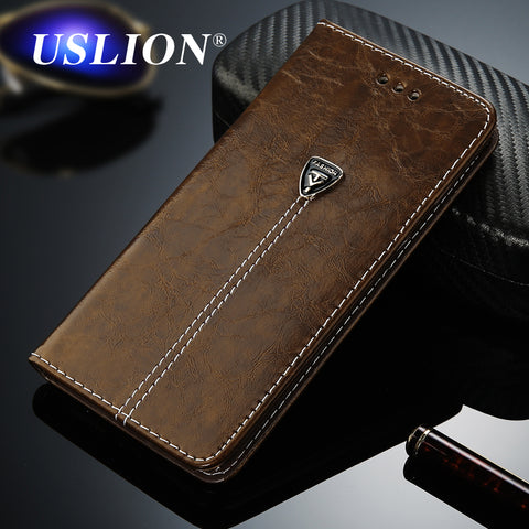 USLION Luxury Flip Leather Phone Case For iPhone 7 4 4s 5 5s SE 6 6 Plus Wallet Card Slots