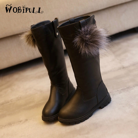 Boots for Girls WOBIPULL autumn winter girls plush high boots black red solid color Martin leather