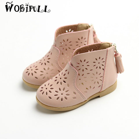 Boots for Girls WOBIPULL summer children's shoes girls leather tassels sandals boots Soft soled