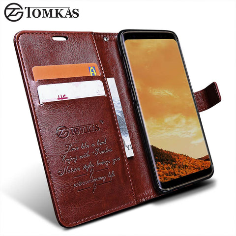 Wallet Case For Samsung Galaxy S8 / S8 Plus TOMKAS Original PU Leather Flip Phone Bag