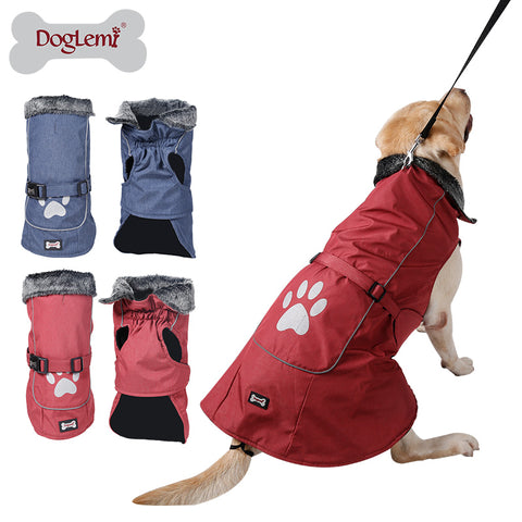 Waterproof & Reflective Dog Clothes Winter Warm Fur Collar Vest Jacket Coat Sport Clothing