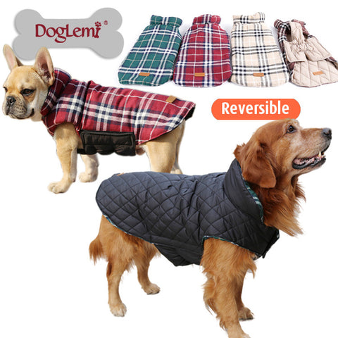 Waterproof Reversible Dog Jacket Designer Warm Plaid Winter Dog Coats Pet Clothes