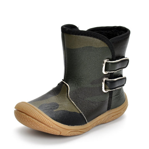 Boots for Boys Winter Baby Boy Girls Boots Warm Shoes PU Leather Camouflage Flat With Baby Toddler