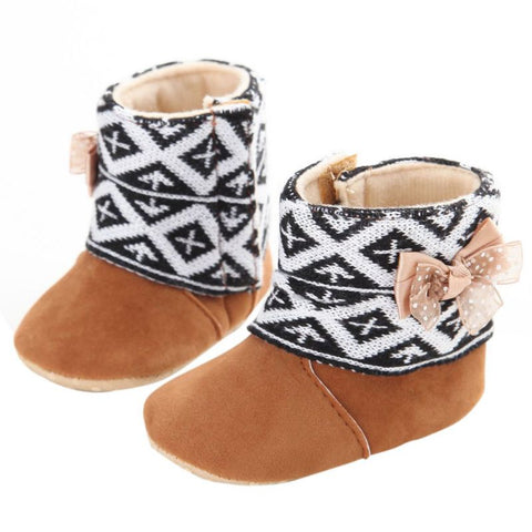 Boots for Boys Winter Baby Shoes Baby Girl Bowknot Fleece Snow Boots Booties Kids Princess Winter Shoes