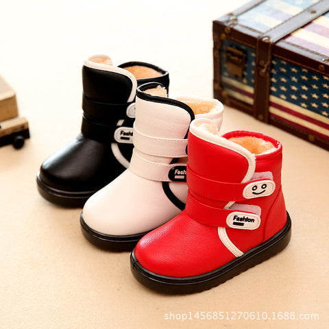 Boots for Boys Winter Children Ankle Plush Boots For Girls Flat With Rubber Snow Boots Boys Waterproof