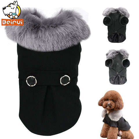 Winter Dog Clothes Pet Cat Jacket Coat Hooded Sweater Warm Padded Puppy Apparel for