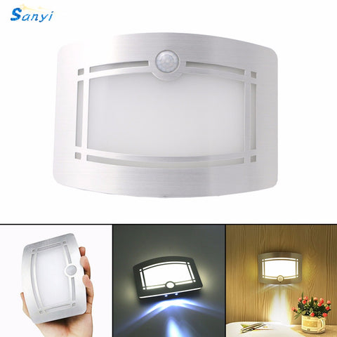 Wireless Infrared Motion Sensor Wall LED Night Light Novelty Battery Powered Porch Night