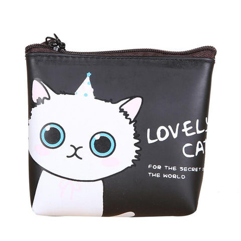 Women Girls Cute Cat Coin Purse Wallet Bag Change Pouch Key Holder Small Mini Purse Drop